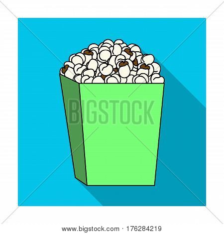 Popcorn in a blue box. Food for an amusement park and a movie trip.Amusement park single icon in flat style vector symbol stock web illustration.