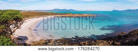 Beautiful beach with crystal clear water on Maria Island, Tasmania, Australia