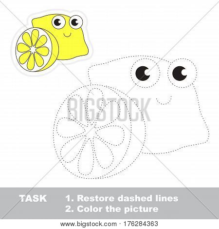 Funny lemon in vector to be traced. Easy educational kid game. Simple level of difficulty. Restore dashed line and color the picture. Trace game for children.