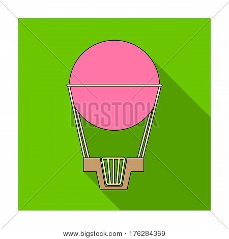 Aerostat. Pink big balloon for flight and travel.Amusement park single icon in flat style vector symbol stock web illustration.