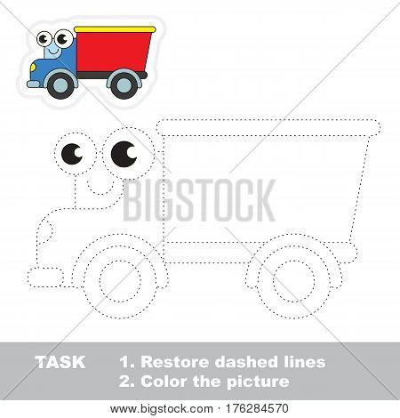 Funny lorry in vector to be traced. Easy educational kid game. Simple level of difficulty. Restore dashed line and color the picture. Trace game for children.
