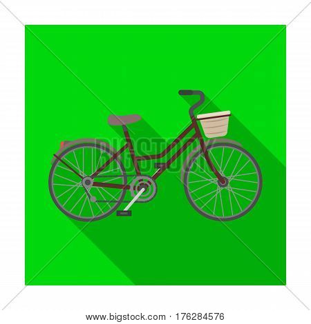 A red bicycle with wheels and basket. The eco-friendly transport.Different Bicycle single icon in flat style vector symbol stock web illustration.