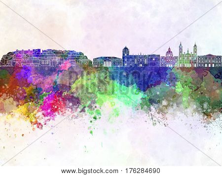 Lisbon V2 skyline in watercolor background artistic abstract