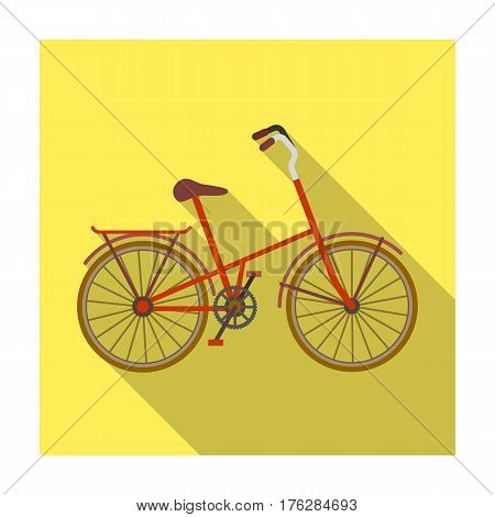 Children s bicycle with low frame and luggage compartment flaps.Different Bicycle single icon in flat style vector symbol stock web illustration.