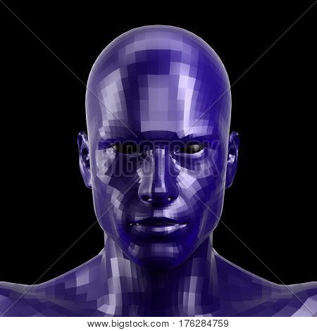 3D rendering. Faceted blue robot face with black eyes looking front on camera. Isolated on black background