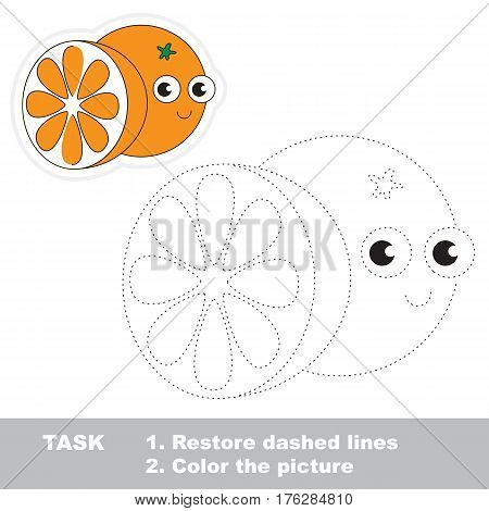 Funny orange in vector to be traced. Easy educational kid game. Simple level of difficulty. Restore dashed line and color the picture. Trace game for children.
