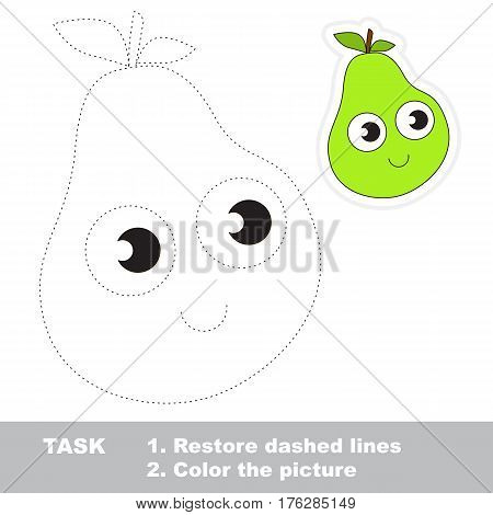 Funny pear in vector to be traced. Easy educational kid game. Simple level of difficulty. Restore dashed line and color the picture. Trace game for children.