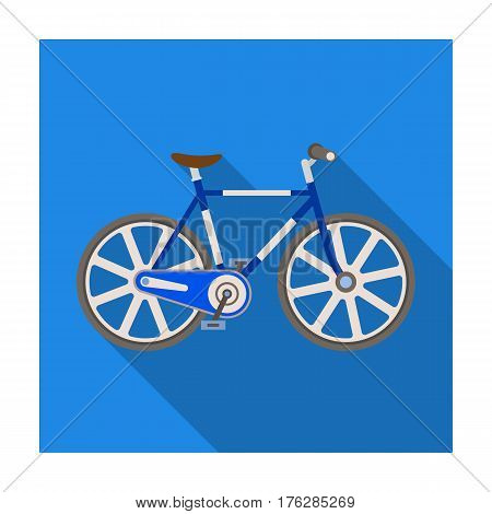Sport bike racing on the track. Speed bike with reinforced wheels.Different Bicycle single icon in flat style vector symbol stock web illustration.
