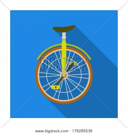 Unicycle for the circus. Bicycle with one wheel for performances.Different Bicycle single icon in flat style vector symbol stock web illustration.