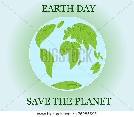 Happy Earth Day hand lettering card background. Vector illustration with leaves for banner poster