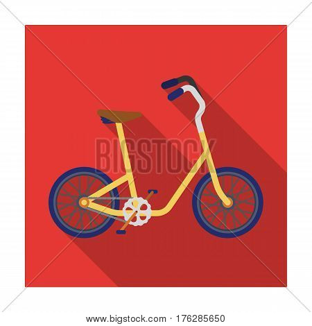 Little yellow children s bicycle. Bicycles for children and a healthy lifestyle.Different Bicycle single icon in flat style vector symbol stock web illustration.