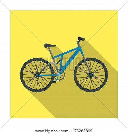 Mountain bike. Cycling downhill from the mountains.Different Bicycle single icon in flat style vector symbol stock web illustration.