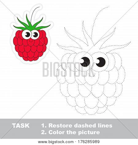 Page to be traced. Easy educational kid game. Simple game level. Gaming and education. Tracing worksheet for Raspberry.