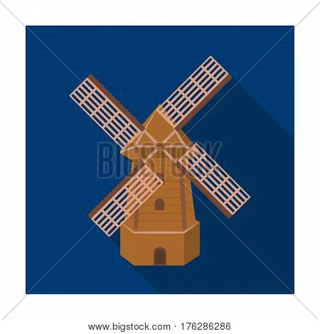 Rural wooden mill. Mill for grinding grain into flour.Farm and gardening single icon in flat style vector symbol stock web illustration.