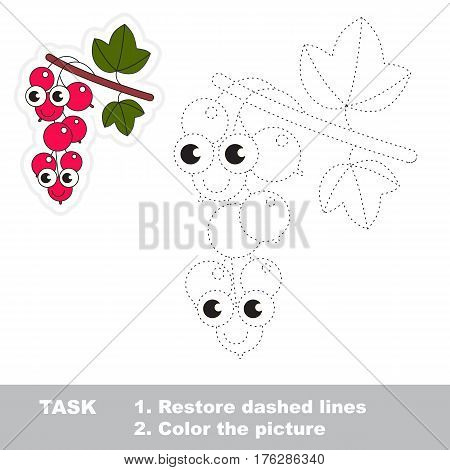 Page to be traced. Easy educational kid game. Simple game level. Gaming and education. Tracing worksheet for Red Currant.