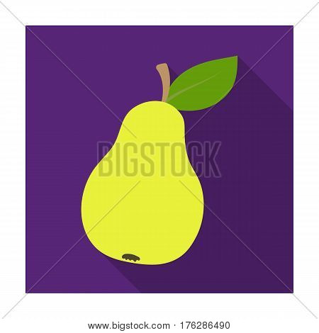 Pear with a leaf. Fruit of labor of a garden worker.Farm and gardening single icon in flat style vector symbol stock web illustration.