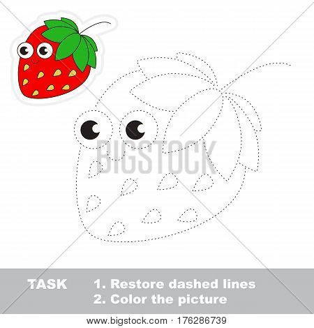 Page to be traced. Easy educational kid game. Simple game level. Gaming and education. Tracing worksheet for Strawberry.