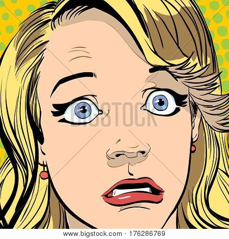 Portrait of surprised woman. Surprised woman. Surprised girl. Concept idea of advertisement and promo. Pop art retro style illustration. People in retro style. Halftone background. Woman's face.