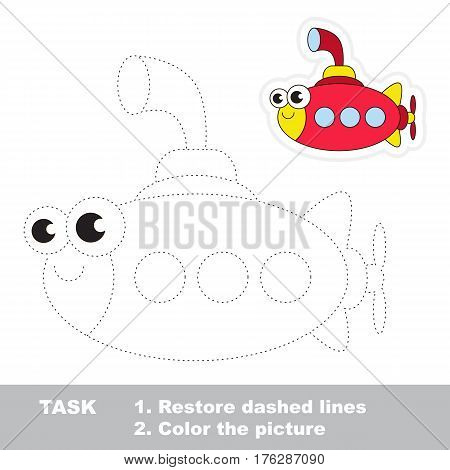 Funny submarine in vector to be traced. Easy educational kid game. Simple level of difficulty. Restore dashed line and color the picture. Trace game for children.