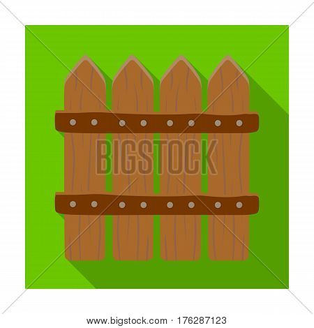 Wooden decorative sectional fence. Fencing for the protection of the garden.Farm and gardening single icon in flat style vector symbol stock web illustration.