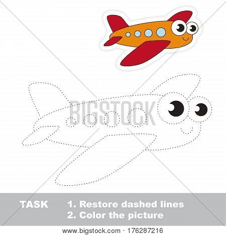 Page to be traced. Easy educational kid game. Simple game level. Tracing worksheet for Toy Funny Airplane