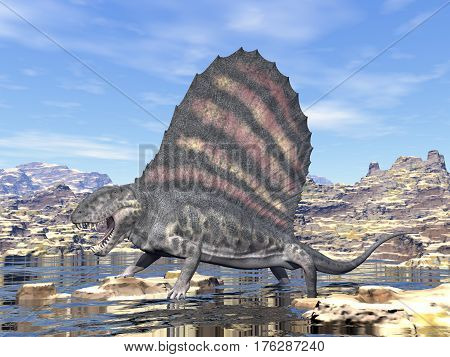Dimetrodon standing in a pond in the desert by day - 3D render