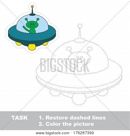 Ufo and alien in vector to be traced. Restore dashed line and color the picture. Tracing game for preschool children, easy game level.