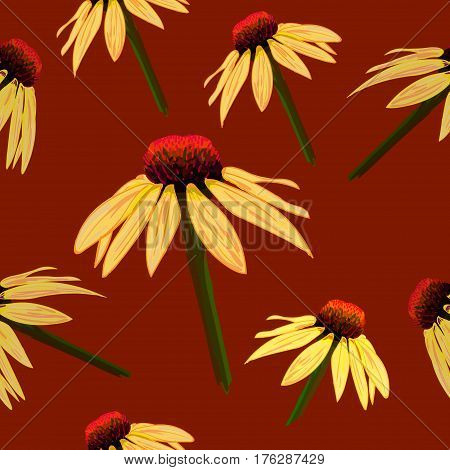 Seamless VECTOR pattern: yellow flowers on brown background, echinacea sketch.