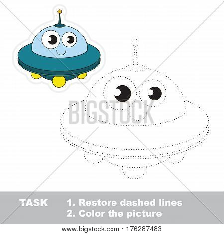 Page to be traced. Easy educational kid game. Simple game level. Tracing worksheet for Toy Funny Ufo
