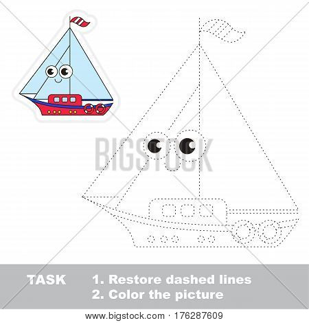 Page to be traced. Easy educational kid game. Simple game level. Tracing worksheet for Toy Funny Yacht
