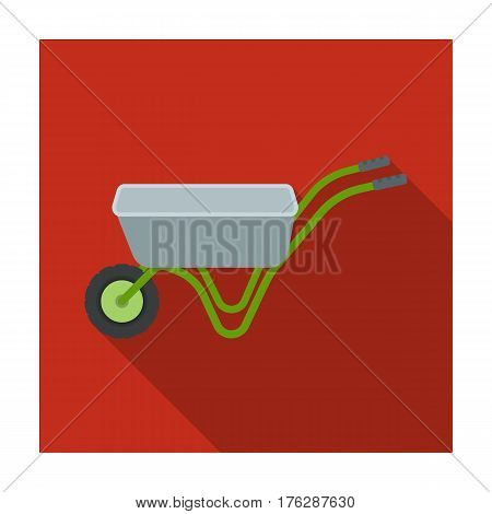 Hand truck with one wheel. Wheelbarrow for the transportation of goods around the garden.Farm and gardening single icon in flat style vector symbol stock web illustration.