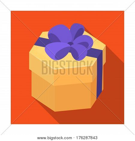 A yellow festive gift in a purple ribbon.Gifts and Certificates single icon in flat style vector symbol stock web illustration.