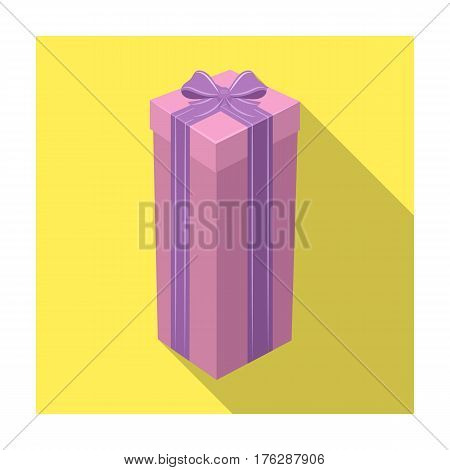 A high gift box, for a high and narrow gift.Gifts and Certificates single icon in flat style vector symbol stock web illustration.
