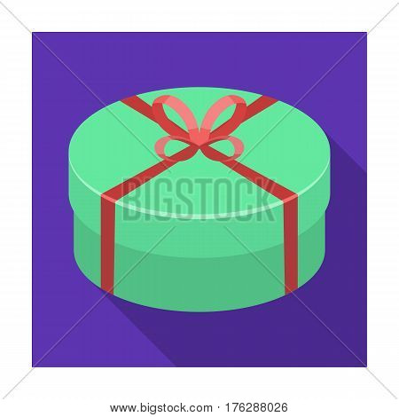Round green gift with a red ribbon. A box for a cake.Gifts and Certificates single icon in flat style vector symbol stock web illustration.