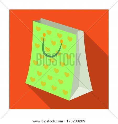 Gift package with beautiful patterns, stars and handles in the form of ropes.Gifts and Certificates single icon in flat style vector symbol stock web illustration.