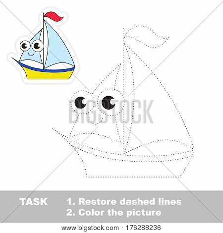 Page to be traced. Easy educational kid game. Simple game level. Tracing worksheet for Toy Funny Boat