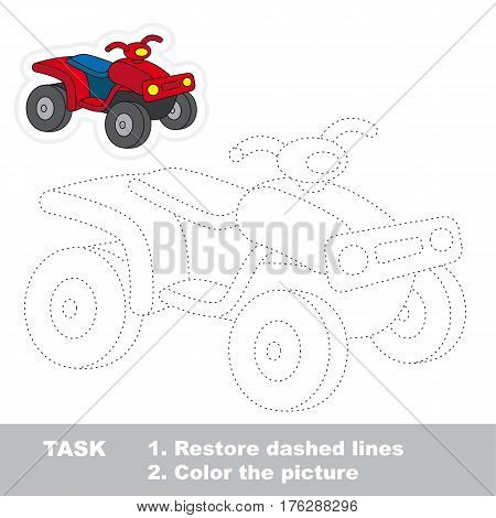 Cool quad bike in vector to be traced. Restore dashed line and color the picture. Tracing game for preschool children, easy game level.