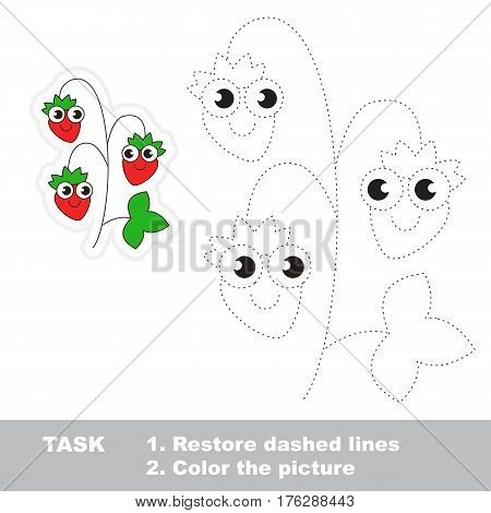Page to be traced. Easy educational kid game. Simple game level. Gaming and education. Tracing worksheet for Wild Strawberry.