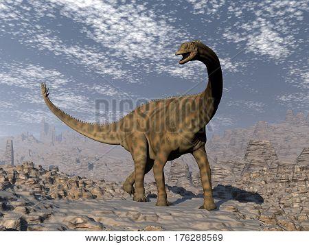 Spinophorosaurus dinosaur walking in the desert by day- 3D render