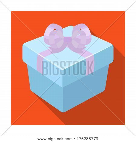 A blue gift box with a bow.Gifts and Certificates single icon in flat style vector symbol stock web illustration.