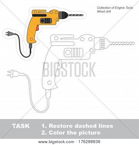 Page to be traced. Easy educational kid game. Simple game level. Tracing worksheet for Electric Drill.