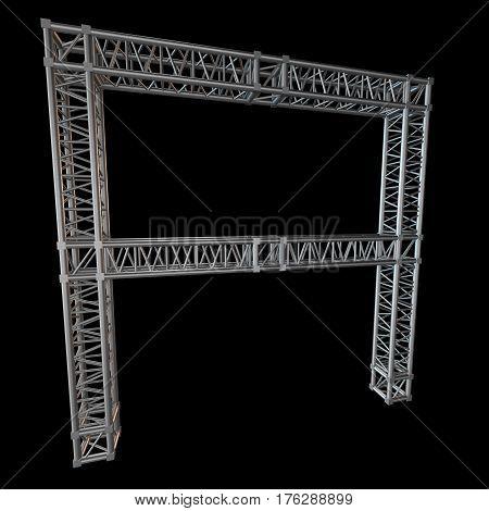 Steel truss girder element banner construction. 3d render isolated on black