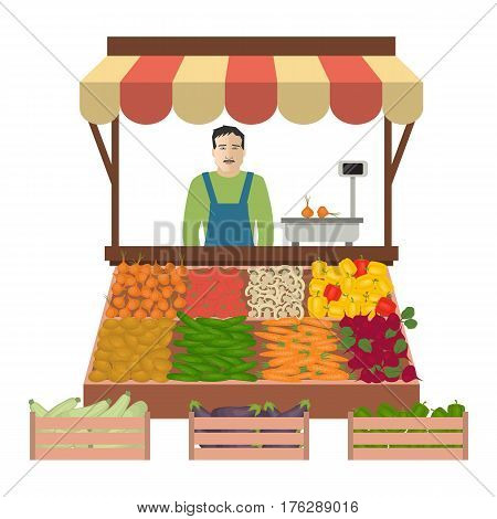 Seller of vegetables on the market. There is a counter, scales and goods: cucumbers. tomatoes, onions, potatoes, carrots, beets, sweet peppers, eggplant and zucchini in the picture. Vector