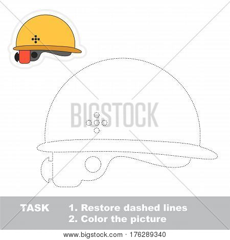 Page to be traced. Easy educational kid game. Simple game level. Tracing worksheet for Helmet