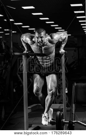 Muscular Bodybuilder Working Out In Gym Doing Exercises On Parallel Bars. Athlitic Male Naked Torso
