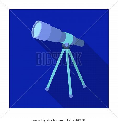 Telescope for schools. Device for astronomy. Device for inspection of the stars.School And Education single icon in flat style vector symbol stock web illustration.