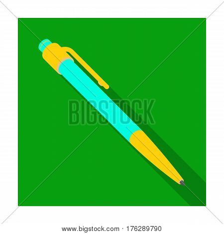 Ball pen. A school pen for writing. Outfit schoolboy.School And Education single icon in flat style vector symbol stock web illustration.