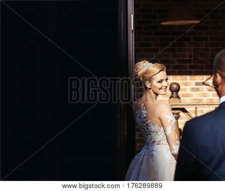 Happy Pretty Girl Or Cute Bride Smiling To Groom