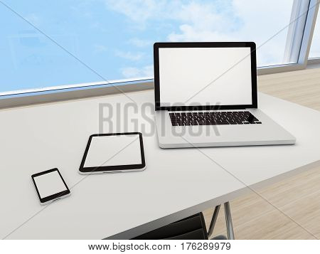 Laptop digital tablet smart phone on office table. Empty white copy space screen. 3d rendered illustration.