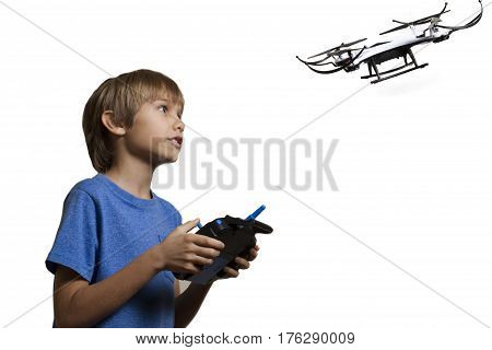 Boy with drone isolated on white background